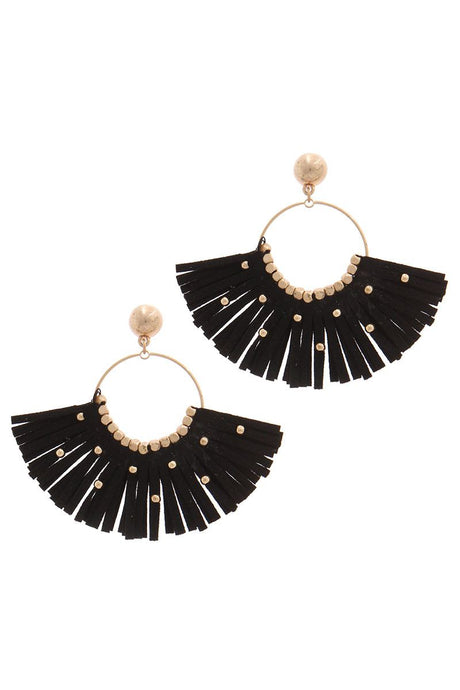 Winged Things Suede Tassel Earrings - Creole Couture Boutique
