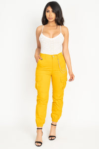 Chain Cargo Twill Jogger Pants - Creole Couture Boutique