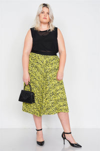 Neon Yellow Pleated Animal Print Chic Midi Skirt - Creole Couture Boutique