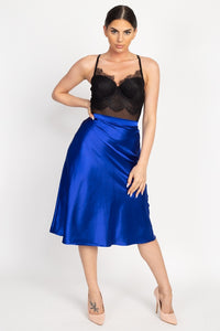 A-line Satin Midi Skirt - Creole Couture Boutique