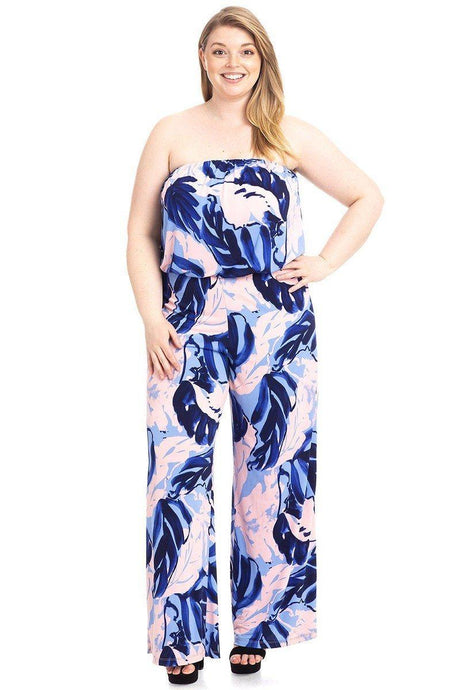 Tropical Print Tube Top Flowy  Jumpsuit - Creole Couture Boutique