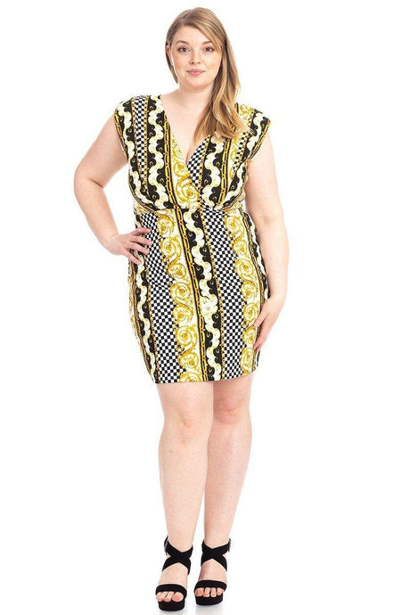 Plus Size Boarder Print  V-neck Bodycon Dress - Creole Couture Boutique