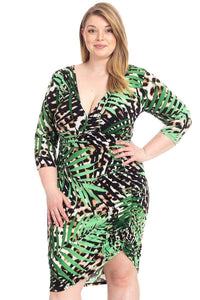 Plus Size Leopard Print With Tropical Leaf Print Bodycon Dress - Creole Couture Boutique