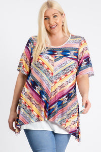 Short Sleeve Aztec Patterned Layered Top - Creole Couture Boutique