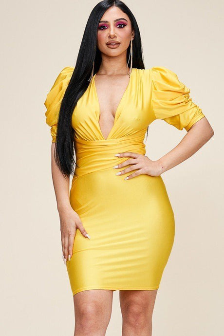 Made You Look Puff Sleeve Dress - Creole Couture Boutique