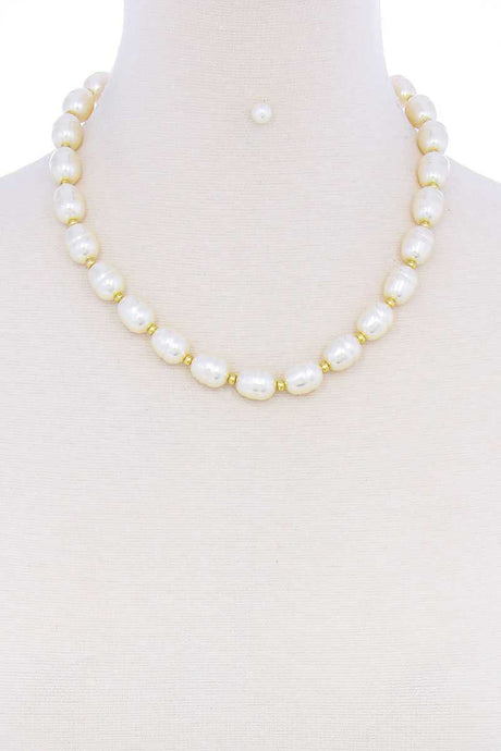 Mother Pearls Necklace And Earring Set - Creole Couture Boutique