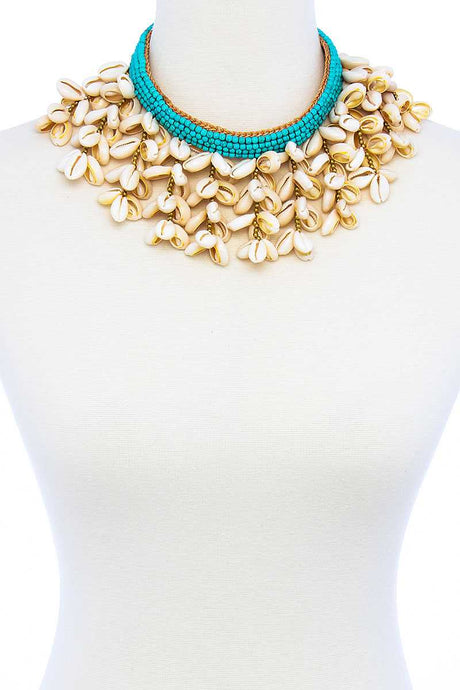 Aqua n Shells Chunky Necklace - Creole Couture Boutique