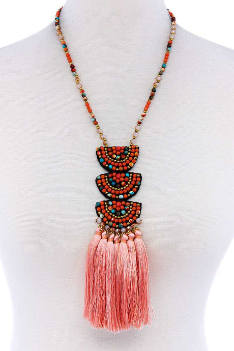 Ancient Allure Tassel And Beaded Necklace - Creole Couture Boutique