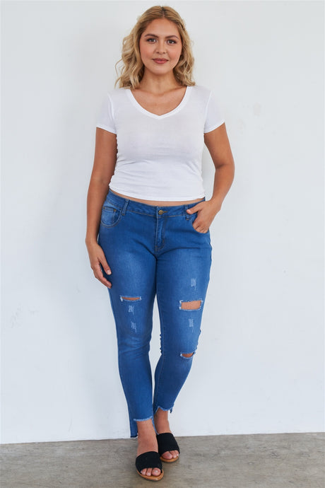 Aba Medium Blue Ripped Pants - Creole Couture Boutique