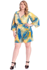 Adita Tropical Leaf Romper - Creole Couture Boutique