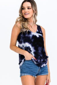 Tie-dye Knit Top Featured In A Scoop Neckline And Sleeveless - Creole Couture Boutique
