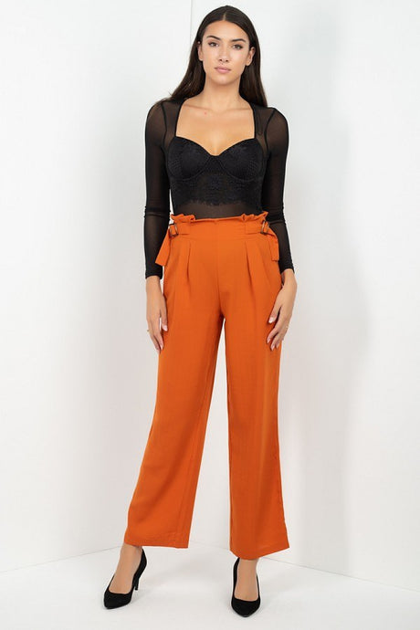Rhea High Waist Paperbag Wide Pants - Creole Couture Boutique