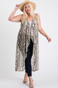 Gia Mesh Sleeveless Long Vest - Creole Couture Boutique
