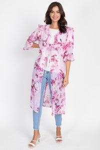 Rose Ruffle Robe Cardigan - Creole Couture Boutique
