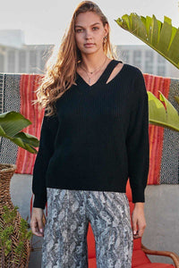 Cut Out V Neck Sweater - Creole Couture Boutique