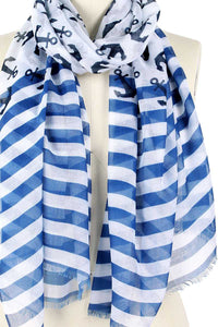 Kate Anchor And Stripe Print Scarf - Creole Couture Boutique