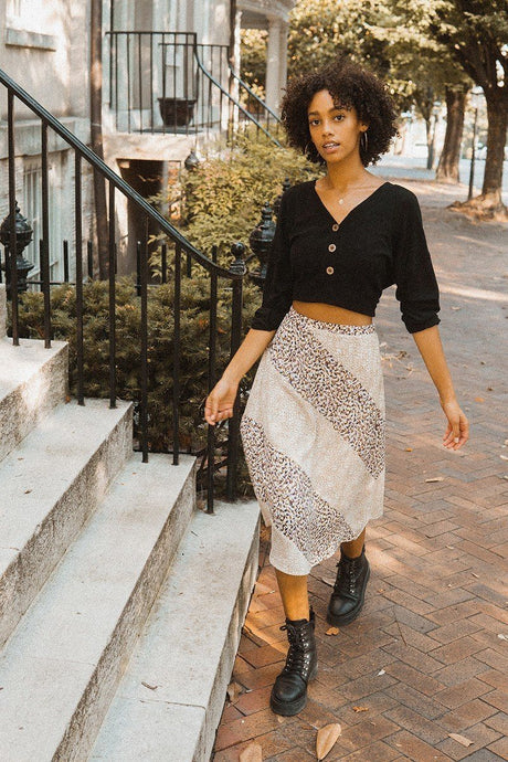 Natalia Floral Woven Midi Skirt - Creole Couture Boutique