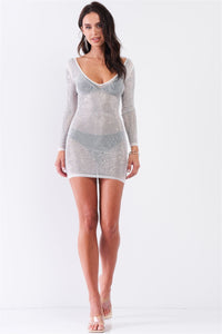 Rhinestone Studded Sheer Mesh Deep V-neck Long Sleeve Bodycon Dress