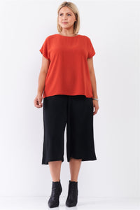 Plus Tangerine Orange Short Sleeve Loose Fit Top