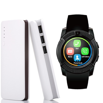 Sam20K Powerbank + Shoyo V8 Smartwatch