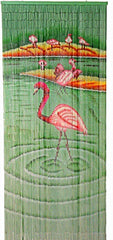 Painted Bamboo Curtain with Flamingo