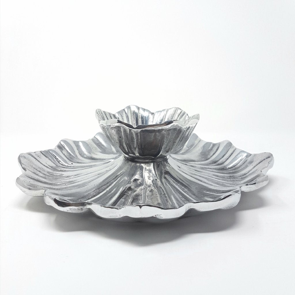 Pewter chip and dip bowl