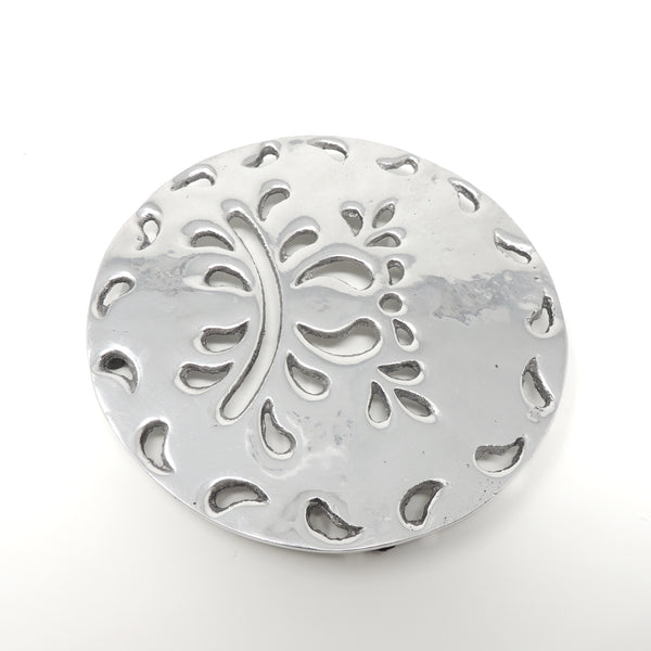 Leaf pewter trivet