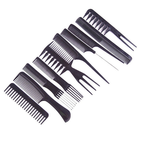 10pcs/Set of Professional Hair Brushes & Combs