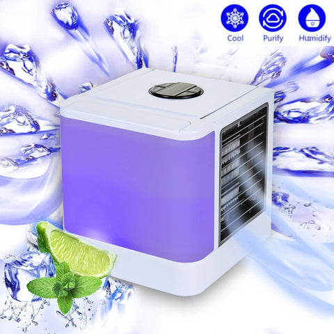 2018 Personal Space Air Cooler, 3 in 1 USB Mini Portable Air Conditioner, Humidifier, Purifier and 7 Colors Nightstand, Desktop Cooling Fan for Office Home Outdoor Travel (White Cooler)