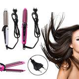 3 in 1 Hair Straightener Brush Electric Comb Curling Iron Ceramic Styling Tools