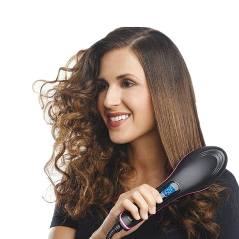 High Quality Ceramic Electric Hair Brush Hair Straightener Straightening Flat Iron Comb Digital Control Heating Brushes