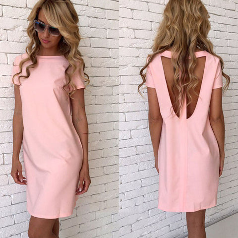 Sexy O-Neck Hollow Open Back Dress Women Straight Slim Solid Party Dresses Summer Casual Loose Short Sleeve Ladies Mini Dress