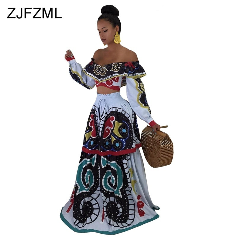 Off The Shoulder Sexy 2 Piece Set Dress Women Slash Neck High Waist Print Bohemian Dress Casual Full Sleeve Open Back Maxi Dress