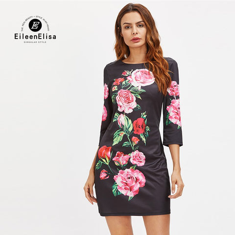 Eileen Elisa Designer Runway Dress High Quality 2017 Fashion Floral Print Dress With Deep Sexy Open Back Dress Women