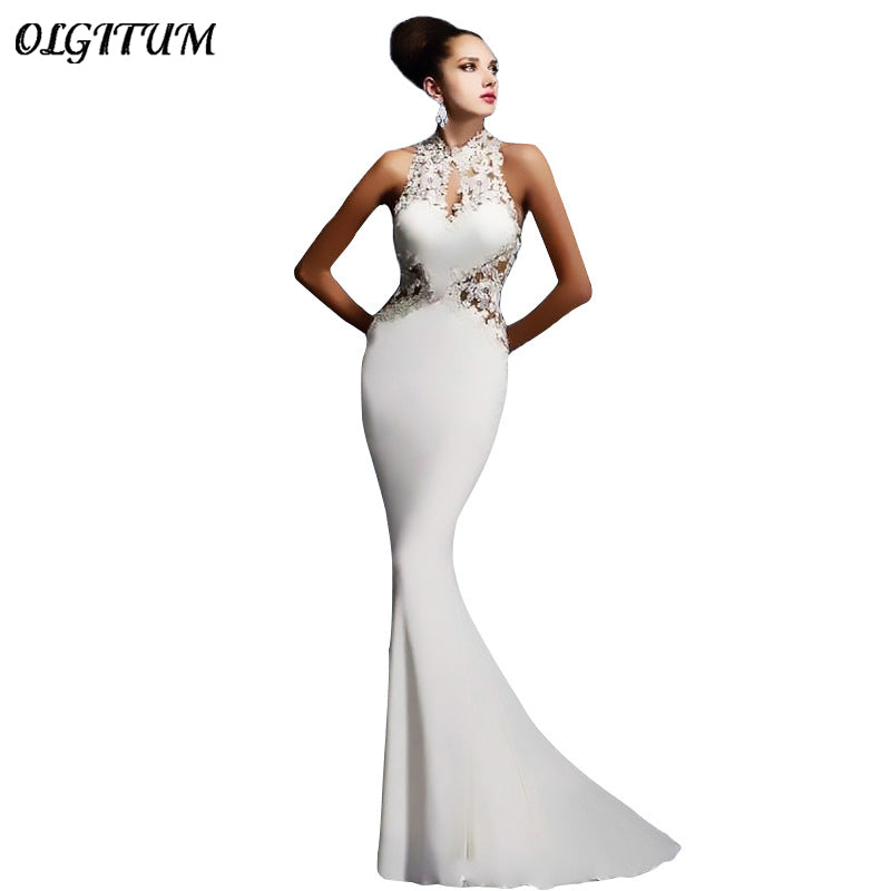 OLGITUM 2019 Summer evening Banquet Dress Pearl Inlay Applique Stitching Sleeveless Sexy Bag Hip Open Back Tight Fishtail Dress