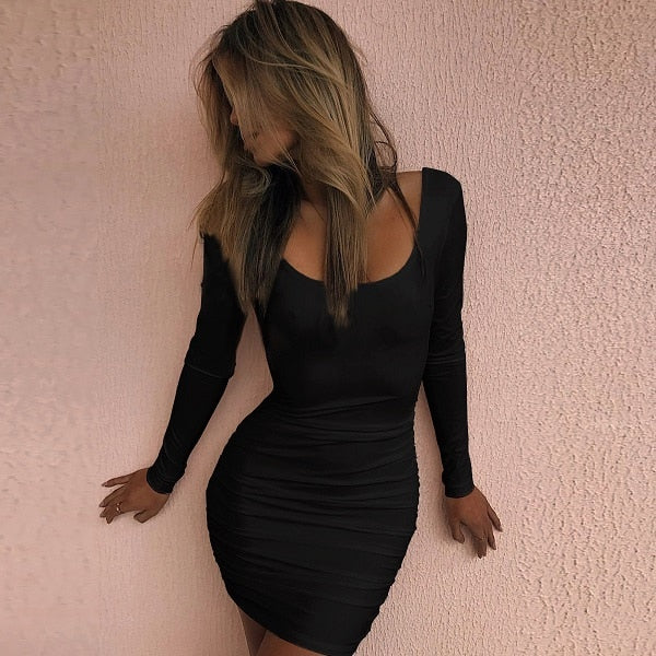 Sexy Slim Black White Dress Mini Club Party Dresses Long Sleeve 2019 New Spring Summer Fashion Dress Open Back Dress Vestidos
