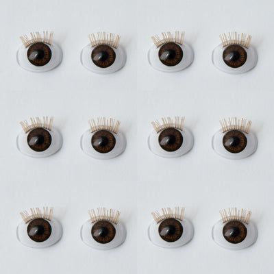 17mm Brown - Oval Eyes w/ Lashes - 6 Pair - #3738