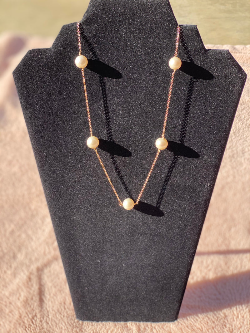 Pearls and Gold 14k Filled Necklace
