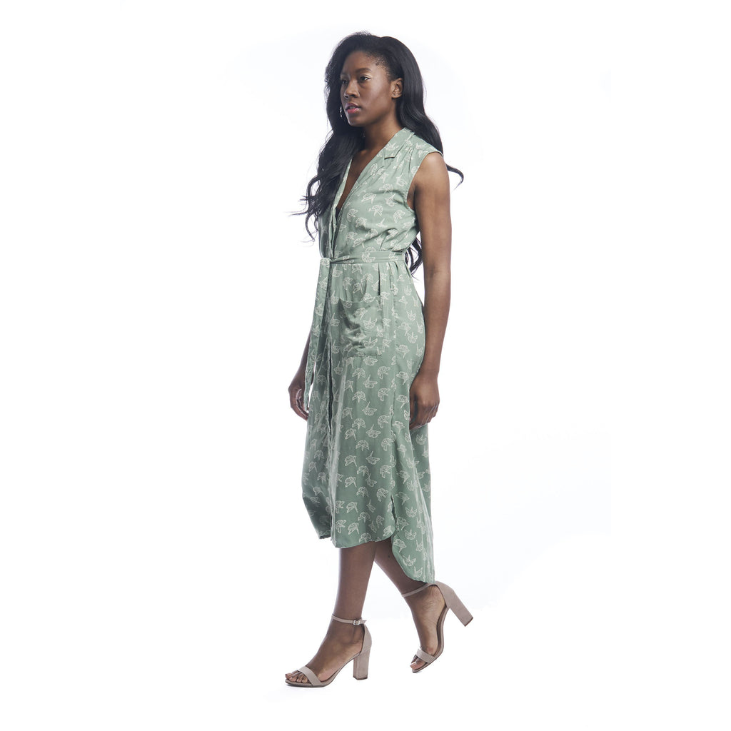 Gingko Leaf Shirtdress in Sage + Cream
