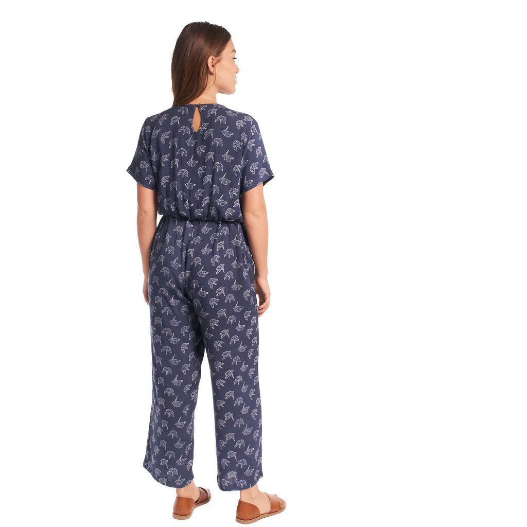 Gingko Leaf Cropped Jumpsuit (Navy + Cream)
