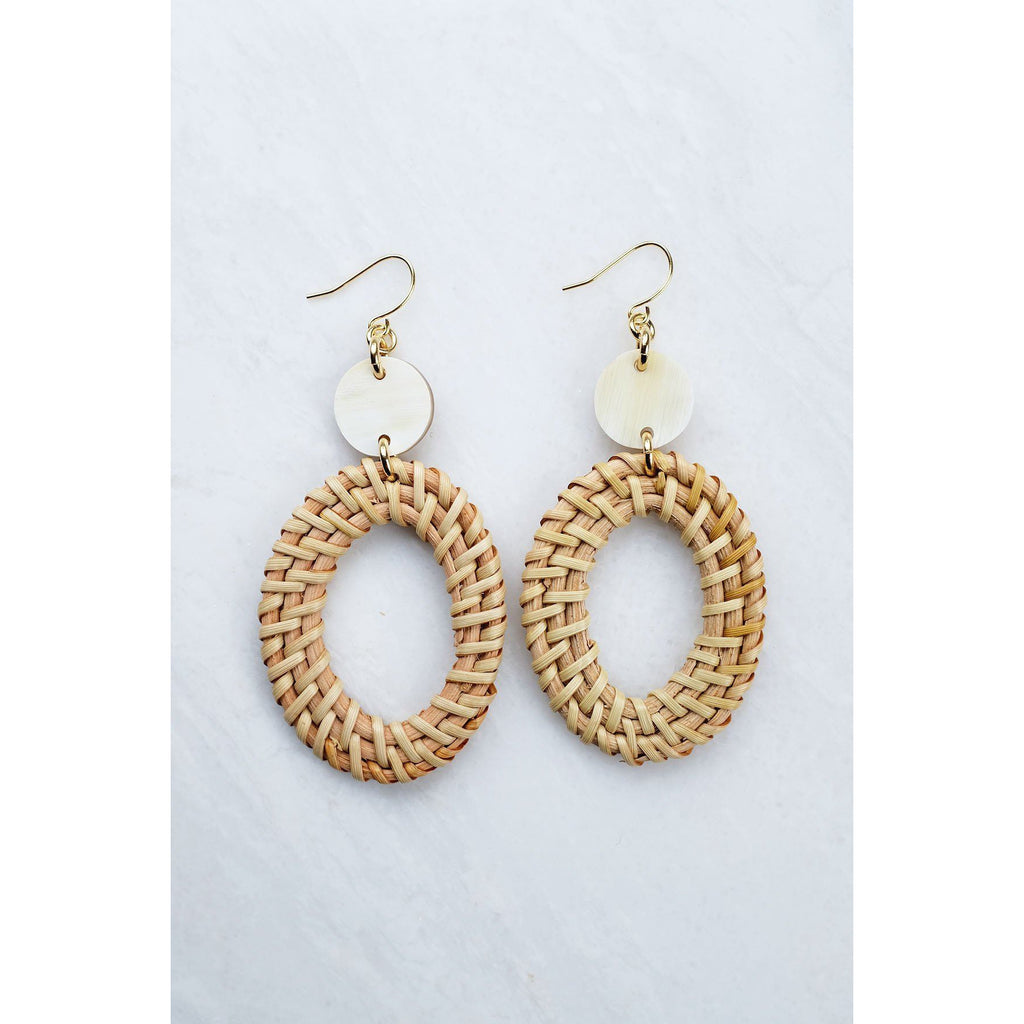 Bien 16K Gold-Plated Brass Buffalo Horn & Rattan Oval Statement Earrings