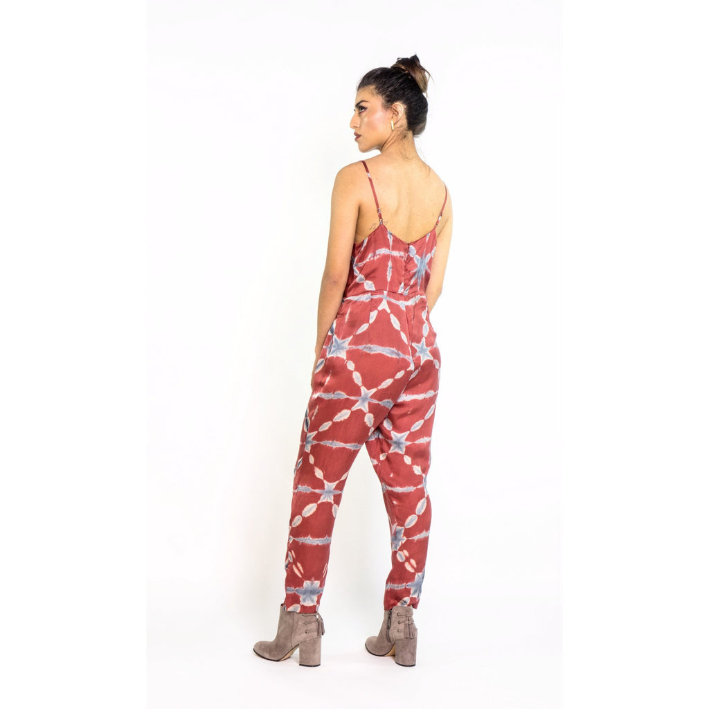Silk Tie Dye Jumpsuit in Terra Cotta & Indigo