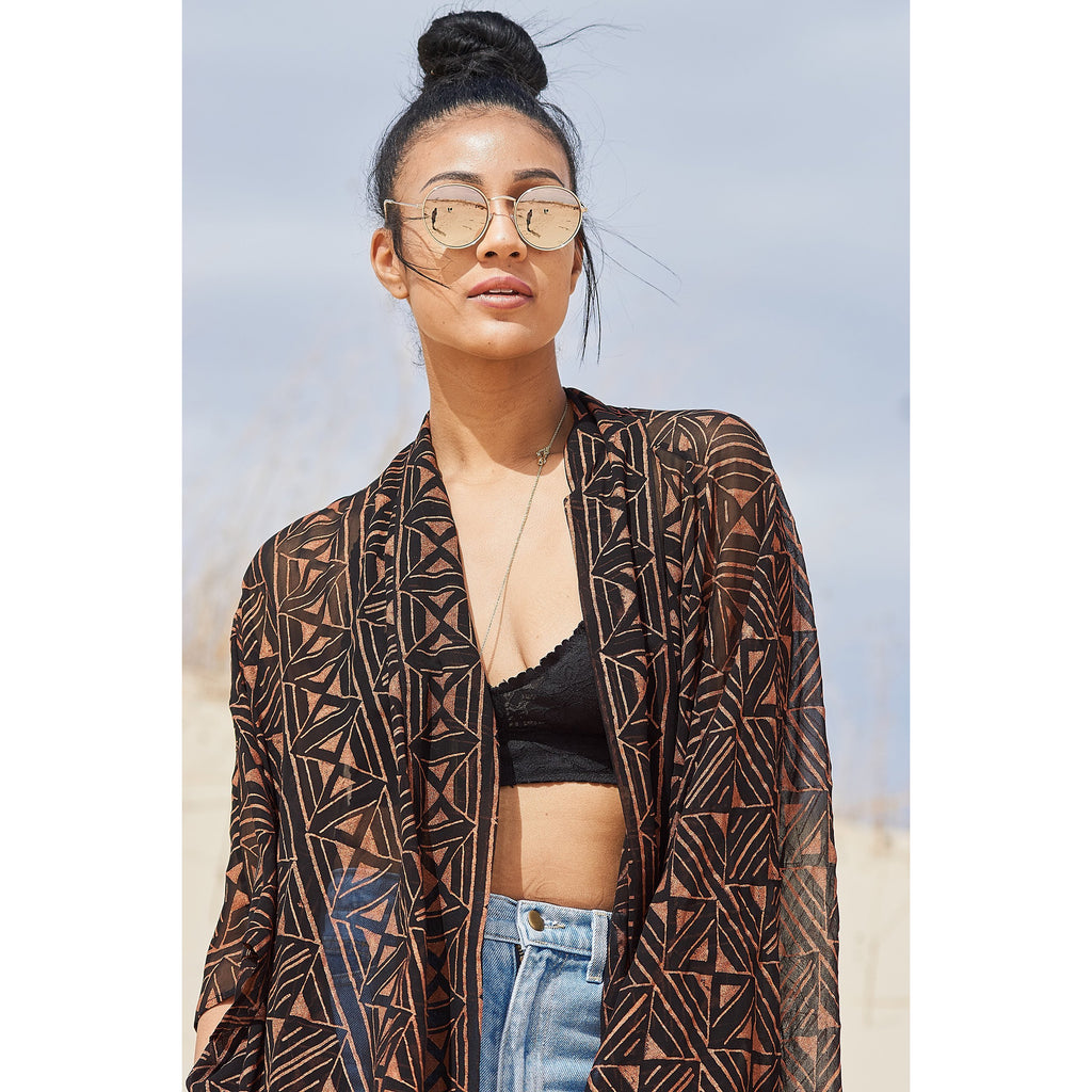 Geometric Diamond Kimono Jacket in Black & Copper