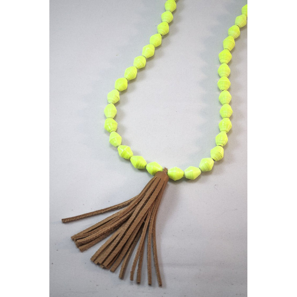The Chai Tassel Necklace (Lime)
