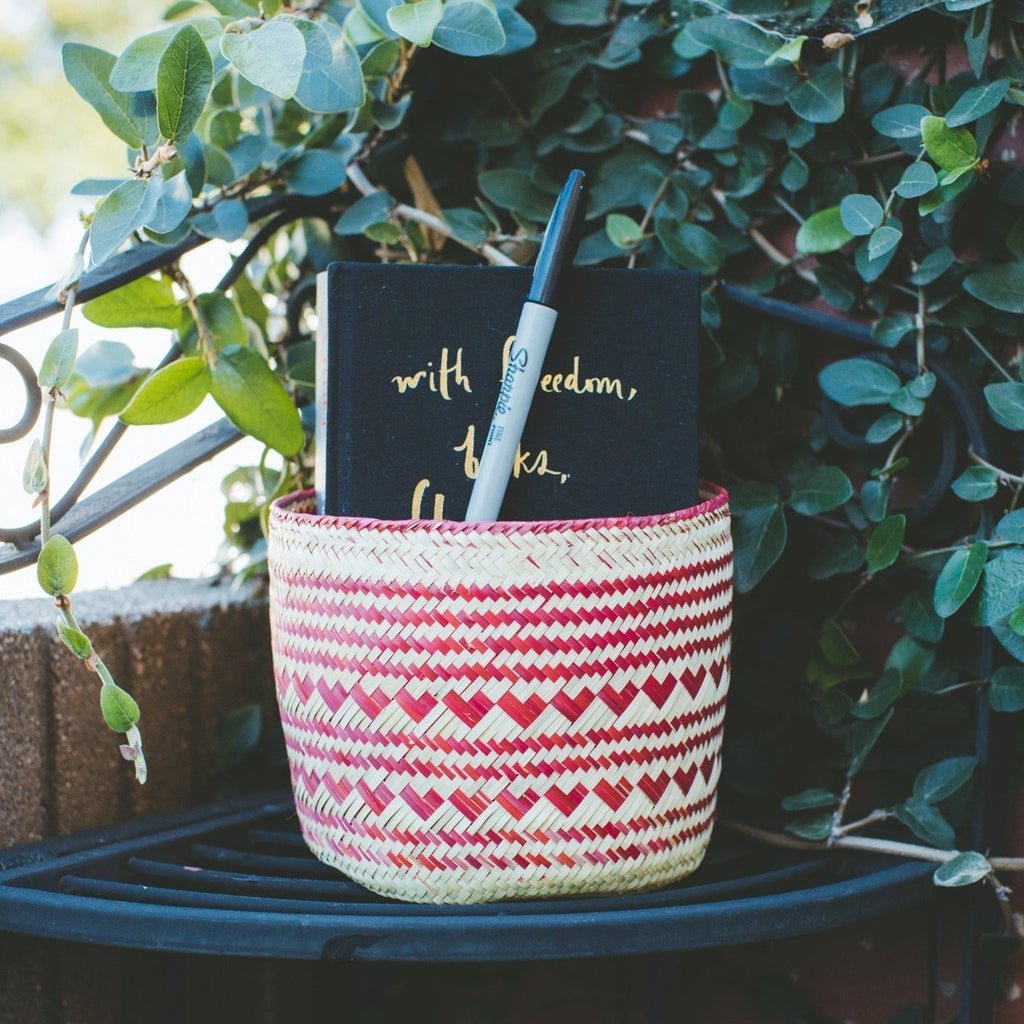 Heart Handwoven Basket - Red