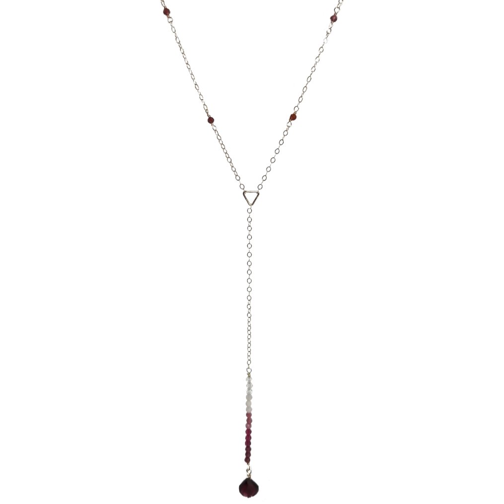 Garnet Ombre Lariat Necklace