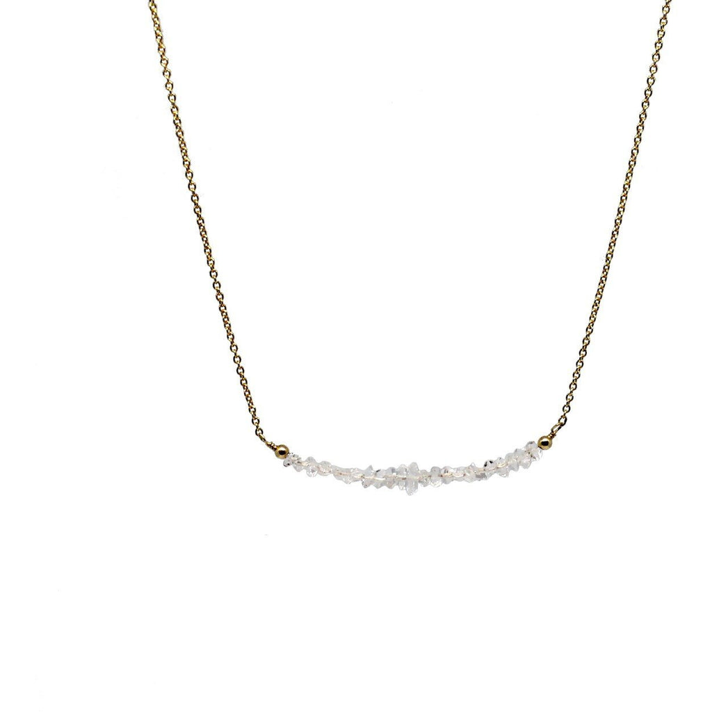 "Herkimer Quartz ""Diamond"" Bar Necklace"