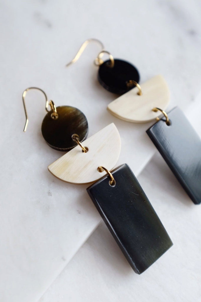 Con Dao Geometric Buffalo Horn Earrings