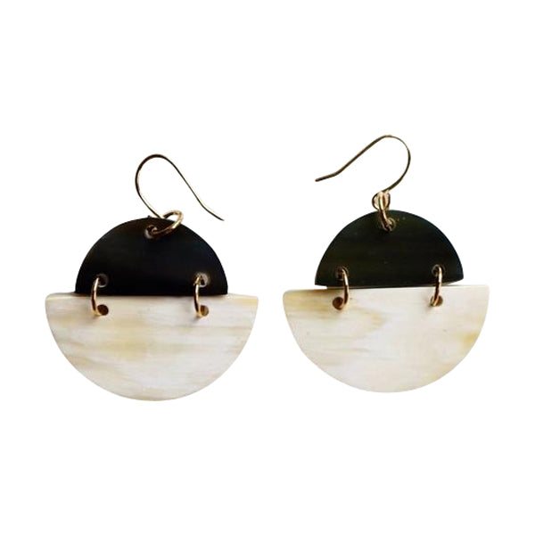 Phan Thiet Round Buffalo Horn Earrings