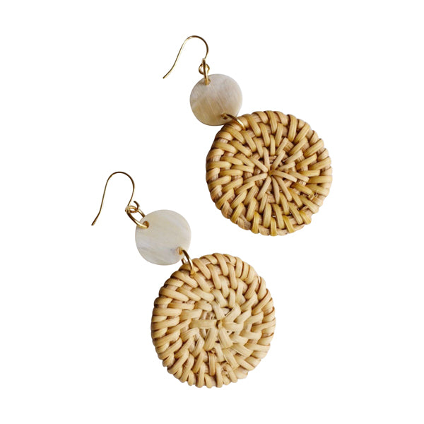 Hoa Lu Natural Rattan (Straw/Wicker) & Buffalo Horns Earrings